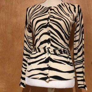 Zebra print belted cashmere cardigan